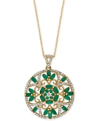 Brasilica By Effy Collection Emerald 2 1 4 Ct. T.W. And Diamond Accent Pendant Necklace In 14K Gold Green