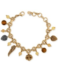 Lucky Brand Two Tone Owl And Wing Charm Bracelet Gold