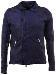 Giorgio Brato Distressed Leather Jacket Blue