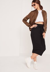 Missguided Tie Front Midi Skirt Black Black