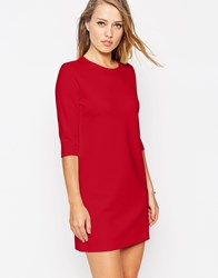 Asos Shift Dress In Ponte With 3 4 Sleeves Red