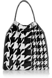 Stella Mccartney Houndstooth Print Faux Fur Tote Black
