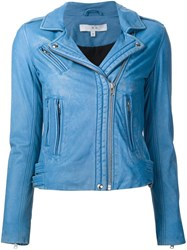 Iro Leather Biker Jacket Blue