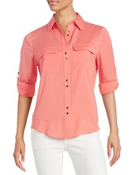 Ivanka Trump Crepe Button Front Blouse Coral