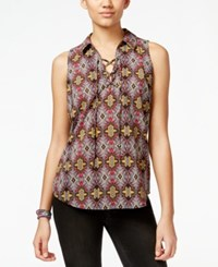 Hippie Rose Juniors' Sleeveless Lace Up Top Burgundy Gold Tile Combo