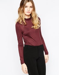 Vero Moda High Neck Long Sleeve Top Brown