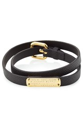 Marc By Marc Jacobs Wrap Around Leather Bracelet Black