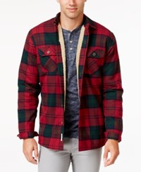 Weatherproof Vintage Men's Faux Fur Lined Plaid Flannel Shirt Jacket Only At Macy's Lindsay