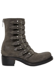 Rocco P. 50Mm Belted Suede Boots Grey