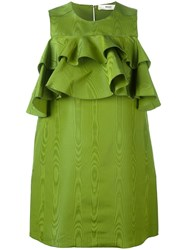 Bally Ruffled Mini Dress Green