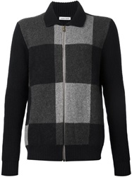 Tomas Maier Checked Zipped Cardigan Black