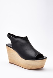 Forever 21 Faux Leather Slingback Wedges Black