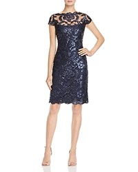 Tadashi Shoji Cap Sleeve Sequin Embroidered Dress Navy