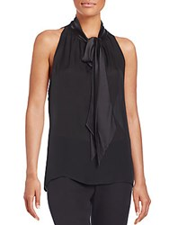 Naeem Khan Silk Tie Neck Top Black