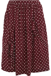 Comme Des Garcons Girl Bow Embellished Polka Dot Wool Jersey Skirt Burgundy