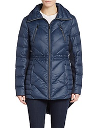 Saks Fifth Avenue Chevron Quilted Nylon Coat Sapphire