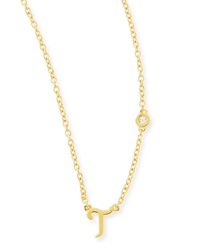 Shy By Sydney Evan T Initial Pendant Necklace With Diamond