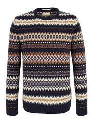 Racing Green Fox Fairisle Crew Neck Knit Jumper Navy