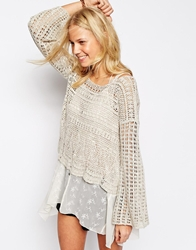 Abercrombie And Fitch Crop Crochet Knitted Jumper Oatmeal