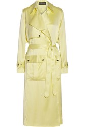 Michael Lo Sordo Washed Silk Satin Trench Coat Yellow