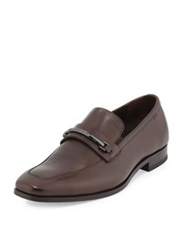Hugo Boss Maxinn Leather Logo Bar Loafer Dark Brown