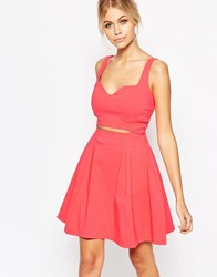 Hedonia Maria Skater Dress With Cut Out Detail In Denim Pink