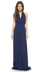 Joanna August Amber Halter Wrap Dress Navy