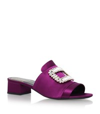 Roger Vivier Embellished Buckle Satin Mules 35 Female Purple