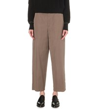 Helmut Lang Wide Leg Cotton And Linen Blend Trousers Army Green