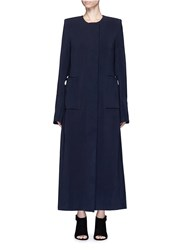 Ellery 'Vanity' Topstich Wool Blend Duster Coat Blue