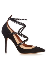 Valentino Love Latch Suede And Leather Pumps Black Nude