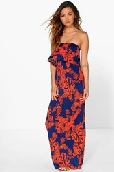 Boohoo Palm Printed Bandeau Detail Maxi Dress Multi