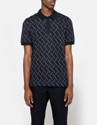 Fred Perry Abstract Jacquard Pique Shirt Navy