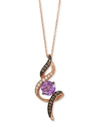 Le Vian Chocolatier Amethyst 1 Ct. T.W. And Diamond 1 4 Ct. T.W. Pendant Necklace In 14K Rose Gold