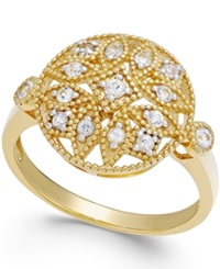 Macy's White Sapphire 1 4 Ct. T.W. Filigree Ring In 14K Gold Yellow Gold
