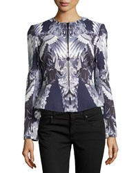 Monique Lhuillier Crane Print Crepe Jacket Ink White