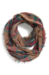 Bp Plaid Infinity Scarf Tan Multi