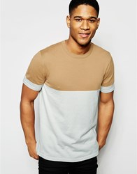 Asos Knitted Tshirt In Color Block Camel And Gray