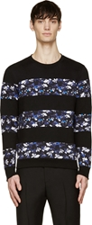 Markus Lupfer Black And Blue Floral Striped Sweatshirt