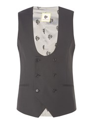 Noose And Monkey Double Breasted Waistcoat Black