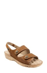 Women's Softwalk 'Bolivia' Sandal Tan Perforated Leather