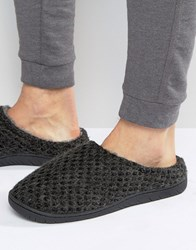 Dunlop Knitted Mule Slippers In Grey Grey