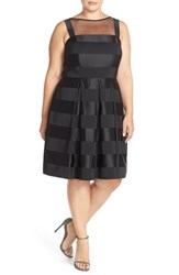 Plus Size Women's London Times Illusion Yoke Satin Stripe Party Dress