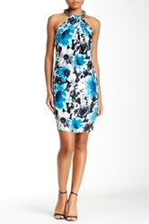 Carmen Marc Valvo Twist Front Printed Silk Dress Multi