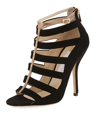 Jimmy Choo Fathom Strappy Cage Bootie Black Gold