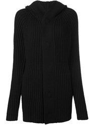 Helmut Lang Ribbed Hooded Cardigan Black