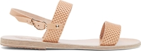 Ancient Greek Sandals Nude Perforated Clio Sandals