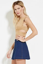 Forever 21 Cutout Faux Suede Crop Top Tan