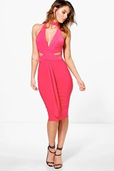 Boohoo Plunge Neck Band Slinky Midi Dress Poppy