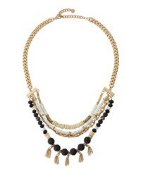 Lydell Nyc Golden Mixed Media Layered Bib Necklace Multi